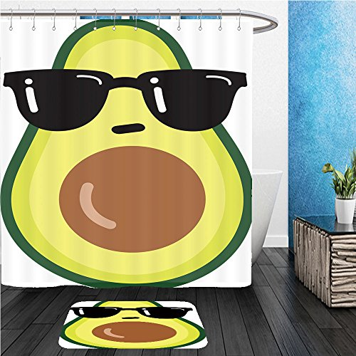 Beshowereb Bath Suit: ShowerCurtian & Doormat illustration cartoon funny avocado icon with black sunglasses isolated on white background vector - Sunglasses Background Without