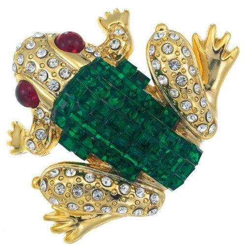 Bejeweled Crystal Frog Brooch