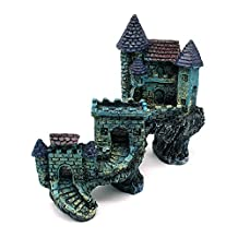 Dimart Super Magical Simulation European Villas Castle Aquarium Ornament Fish Tank Decorations Blue