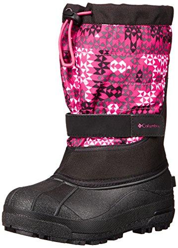 Columbia Youth Powderbug Plus Print Winter Boot (Little Kid/Big Kid), Black/Bright Rose, 7 M US Big Kid by Columbia
