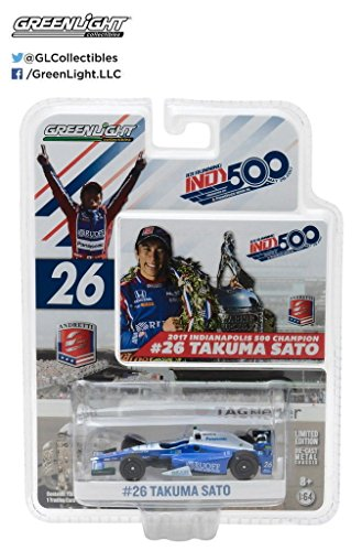 New 1:64 GREENLIGHT COLLECTION - Andretti Racing - #26 Takuma Sato - 2017 Indianapolis 500 Winner Diecast Model Car By - 500 Indianapolis Winners