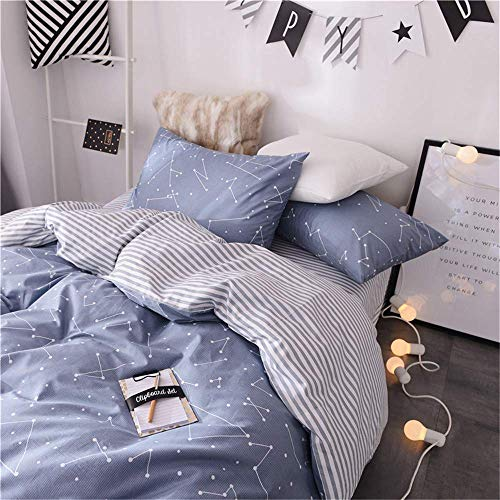 VClife Soft Twin Bedding Sets Chic Cotton Duvet Cover Reversible Constellation Galaxy Printed Bedding Comforter Cover, ids Teens Adult Stripe Bed Set, Zipper Closure, Breathable, Lightweight, Twin (Set Printed Twin)