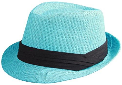 Enimay Unisex Vintage Fedora Hat Classic Timeless Light Weight 2118 - Turquoise Size -