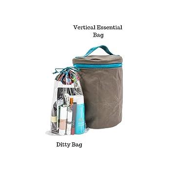 72ceaedba5 Amazon.com   MB Greene Designer Cocoa Brown Vertical Essential 2 Piece  Travel Bag Toiletry Organizer Cosmetic Case Tote   Beauty