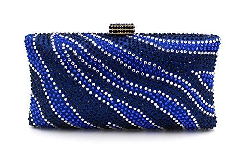 Flada - Cartera de mano para mujer plateado plata mediano azul 1