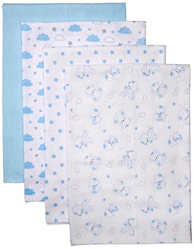 Nuby Cuddly Soft Baby 4 Piece Receiving Blanket Set, Puppy Print, Blue, 28