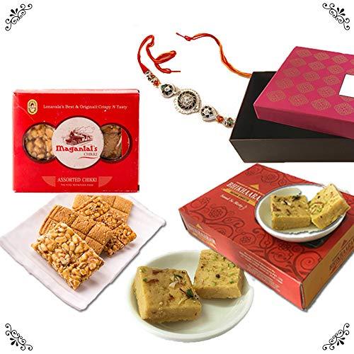 - Bite of India (Mumbai) All Things Sweet Rakhi Sweet Gift Box - Designer Rakhi, BKC Patisa-Desi Ghee, Maganlal Assorted Chikki