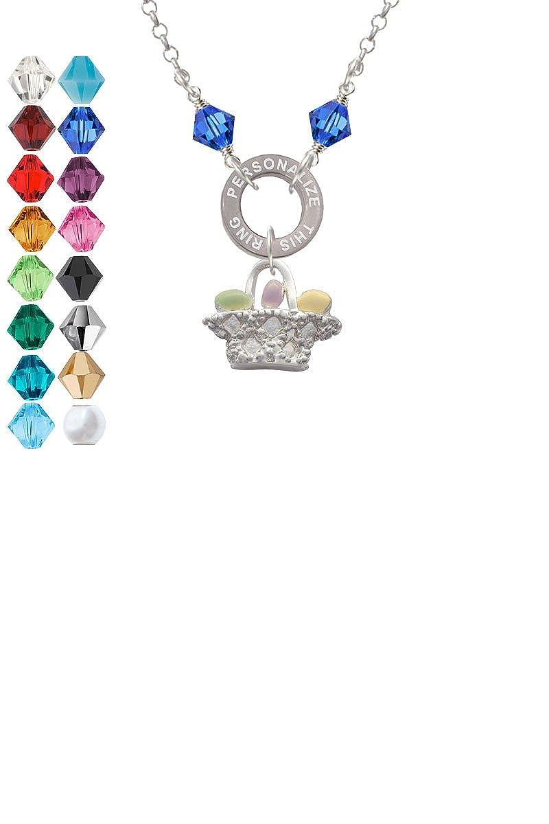 Easter Egg Basket Custom Engraved Name Ring Crystal Necklace