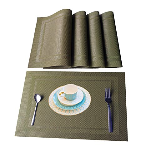 Green Agate Set (WANGCHAO Placemats Eco-friendly Colorful Plaid Placemats Table Mats Washable Heat-resistant for Dining Table 12