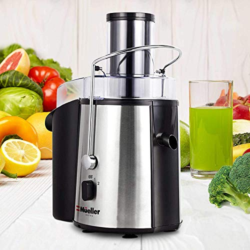"""Mueller Austria Juicer Ultra Power, Easy Clean Extractor Press Centrifugal Juicing Machine, Wide 3"""" Feed Chute for Whole Fruit Vegetable, Anti-drip, High Quality, Large, Silver Salted Salad"""