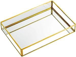 "QILICHZ Vintage Mirrored Tray Glass Jewelry Tray Gold Mirror Tray Decorative Tray Perfume Tray Dresser Tray Jewelry Makeup Vanity Organizer Ornate Vanity Décor for Home Bathroom Hotel 8""x5.5"" (Small)"