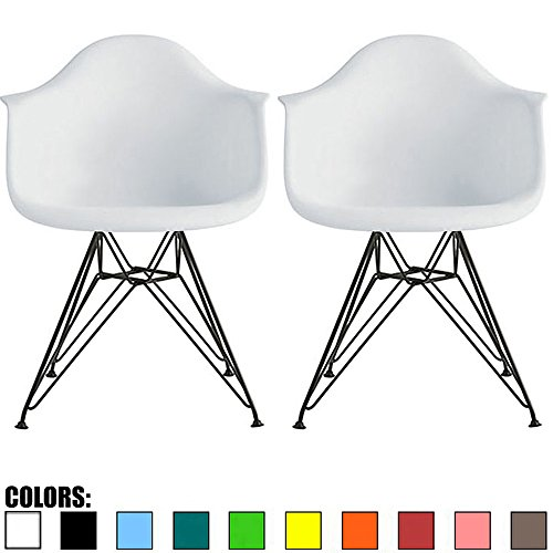 2xhome Set of 2 White Plastic Armchair Natural Wood Legs Eiffel Dining Room Chair - Lounge Chair Arm Chair Arms Chairs Seats Wooden Wood Leg Wire Leg (White - Black Wire Legs) (Century Chair Wire Mid)