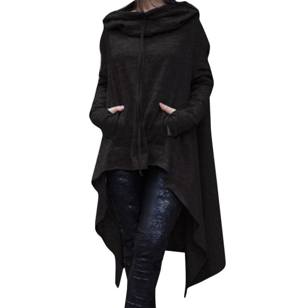 Sinzelimin Women Asymmetrical Hem Hoodie Casual Irregular Hood Sweatshirt Ladies Long Pullover Blouse Tops (Black, M)