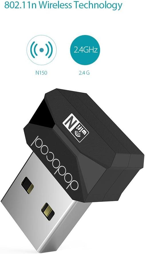 dodocool Wi-Fi Adapter N150 Wireless-N USB Adapter Wi-Fi Dongle 2.4 GHz 150 Mbps Support Windows XP//Vista//7//8//8.1//10//Mac OS X 10.4-10.10