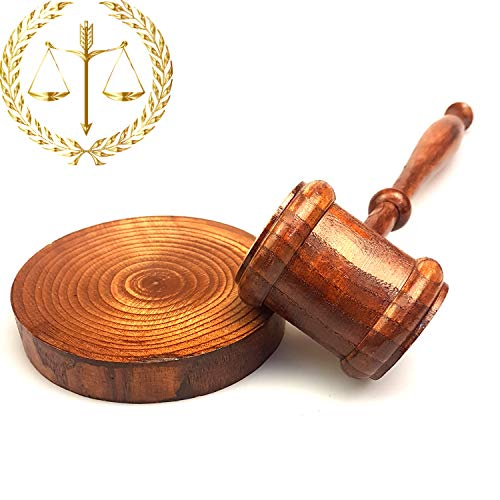 Carpenter Rustic Gavel & Sound Round Block Set - Lawyer & Judge Knocker for - 10
