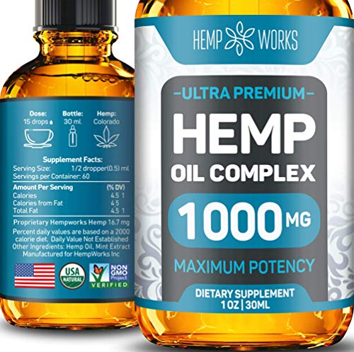 Hemp Oil Drops for Anxiety & Stress Relief - 1000 mg Hemp Extract - Ultimate Hemp Power - Grown & Made in USA - New Formula - Anti-Inflammatory & Joint Support - Ideal Omega 3, 6 & 9 Source
