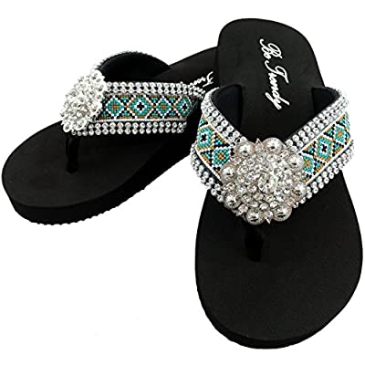 Western Peak Women's Aztec Design Full Rhinestones Round Concho Diamond Black Brown Turquoise Flip Flops Sandals