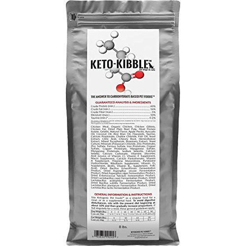 Ketogenic Pet Foods - Keto-Kibble - High Protein, Low Carb, Starch Free, Grain Free Dog & Cat Food - 8 lb. Bag