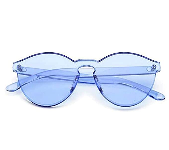 6c6e919c36 Women Men Oversized One Piece Rimless Candy Colorful Transparent Round  Super Retro Sunglasses (Blue)