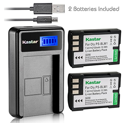 Kastar Battery (X2) & LCD Slim USB Charger for Olympus BLM-1, BLM-01, PS-BLM1 and Olympus C-5060, C-7070, C-8080, E-1, E-3, E-30, E-520, EVOLT E-300, E-330, E-500, E-510 Camera
