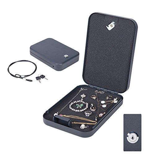 CO-Z Portable Hand Gun Safe, Lockbox Jewelry Box, Pistol Safe, with Key Lock for Valuables, Cash, Pistols & Handguns (L, Keylock)