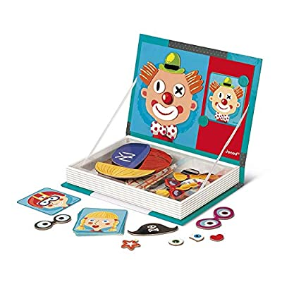 Janod MagnetiBook 80 pc Magnetic Crazy Face Dress Up Game for Imagination Play - Book Shaped Travel/Storage Case Included - S.T.E.M. Toy for Ages 3+: Toys & Games