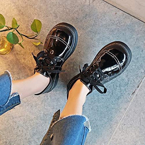 England Dégagement Chaussures Cuir Vintage Black Femme Hiver Women Mounter 2019 Noël PqI41
