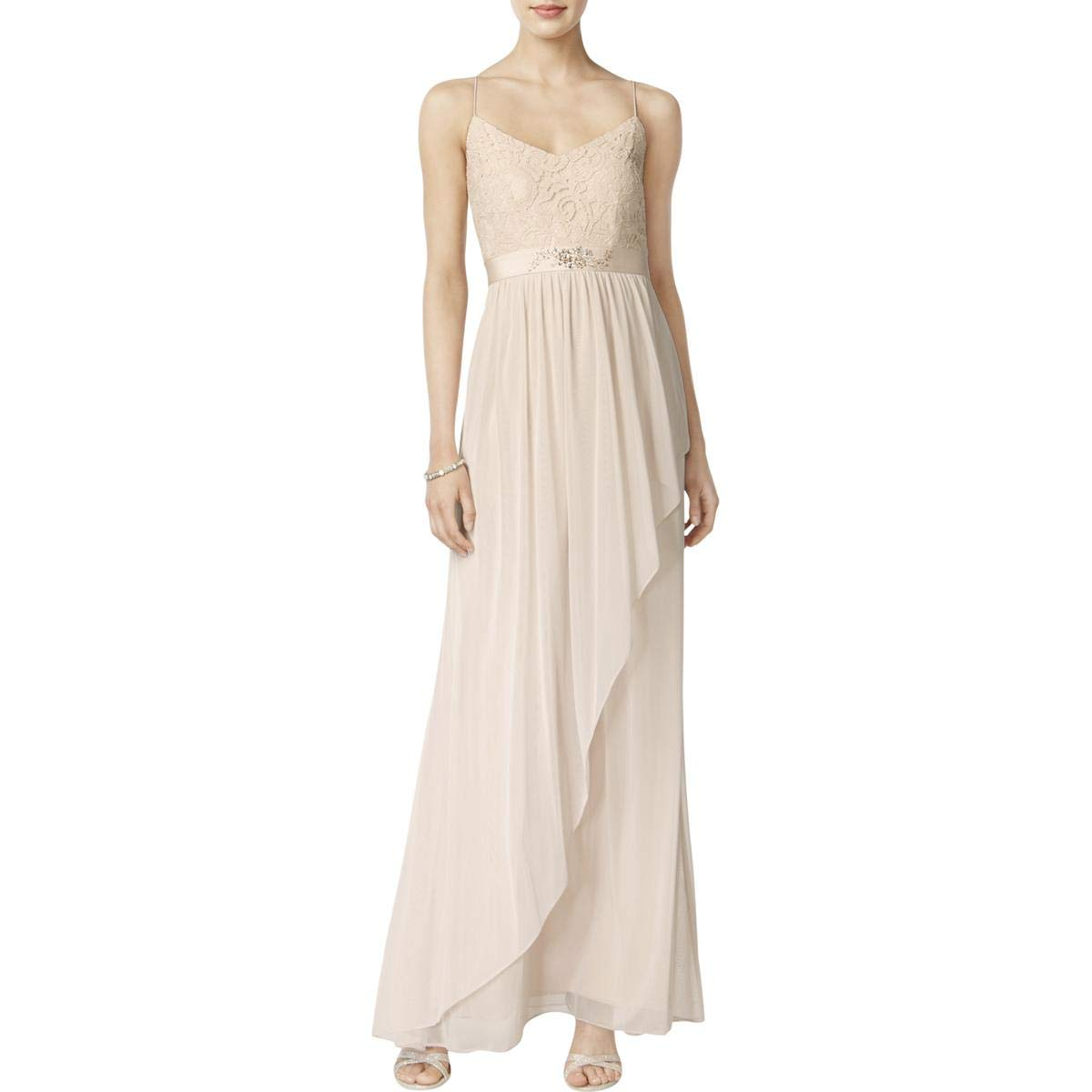 Almond Adrianna Papell Womens FullLength Embellished Evening Dress