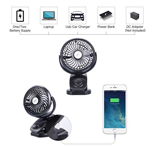 Yostyle Rechargeable Battery Operated Clip On USB Fan, Mini Stoller Fan, 4400mAh Battery/USB Powered Desk Fan with 360 Degree Rotation for Baby Stroller, Office, Car, Gym, Travel, Camping by Yostyle (Image #2)