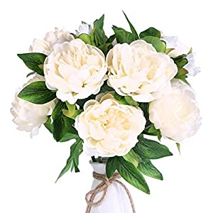 Louiesya Artificial Flowers 3pcs of Fake Silk Peony Flower Bouquet Floral Peonies Plants Decor for Home Garden Wedding Party Decor Decoration,White 29