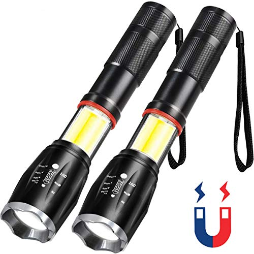 Karrong LED Flashlight with Magnetic Base, Super Bright 1200 Lumens COB Lantern+ Flashlight T6 LED Torch, Zoomable, Water Resistant, 6 Modes for Outdoor Hiking Camping Emergency, 2 Pack ()