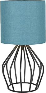 HAITRAL Modern Table Lamp - Small Nightstand Teal Lamp for Bedroom, Black Metal Cage Table Lamp with Hollowed Out Base for Bedroom, Living Room, Office, College Dorm, Den, Blue