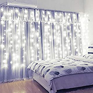 Xmifer Window Curtain String Light, 300 LED USB Powered String Lights Wedding Party Home Garden Bedroom Outdoor Indoor Wall Decorations, Cool White (9.8x9.8 Ft)