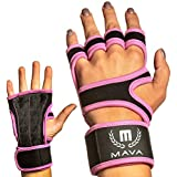Mava Weight Lifting Grips with Silicone Padding & Wrist Support for Lifting – Workout Grips with Leather Padding for Power Lifting, Workouts, Weight Gloves – Cross Training Gloves, Pair