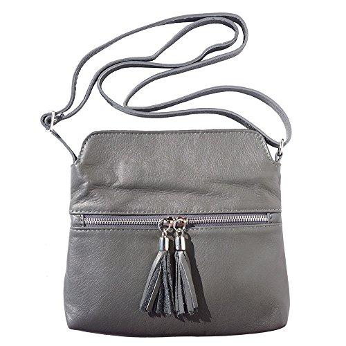 Florence Leather Market Bolso con bandolera BE FREE en piel suave de becerro - 6110 - Bolsos de piel Gris Oscuro