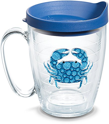 (Tervis 1124745 Blue Crab Insulated Tumbler with Emblem Lid, 16oz Mug, Clear)