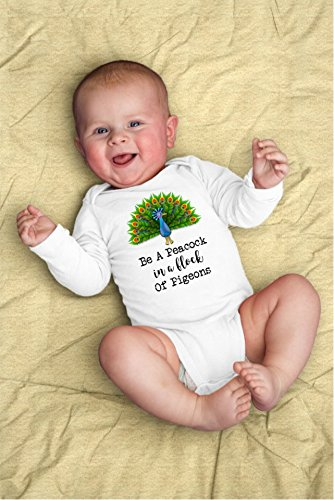 Be A Peacock in a Flock of Pigeons Baby Bodysuit For Inspirational Bird Lover (Jumper Flock)