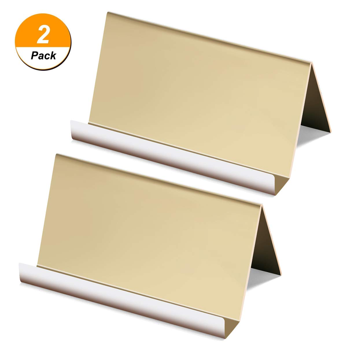 2 Packs Business Card Holders,Nipole Desktop Business Cards Display Rack,High-end Business Card Organizer for Office Business (Champagne Gold)