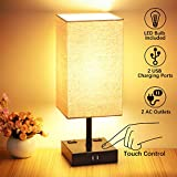 3-Way Touch Control Table Lamp, 2 Quick USB Charging Ports, Bedside Nightstand Lamp with 2 AC Outlets, Super Bright Dimmable E26 LED Bulbs Included, Modern Lamp for Bedroom Living Room Office (Black)