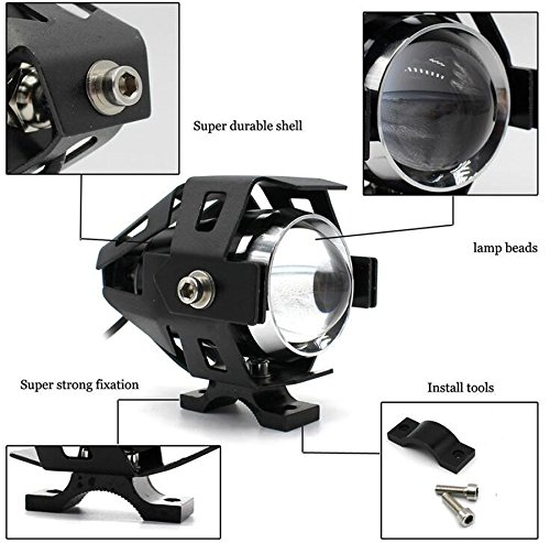 GOODKSSOP 2pcs Super Bright 3000LM CREE U5 125W LED Motorcycle Universal Headlight Work Light Driving Fog Spot Lamp Night Safety Headlamp + 1pcs Switch (Black) by GOODKSSOP (Image #2)