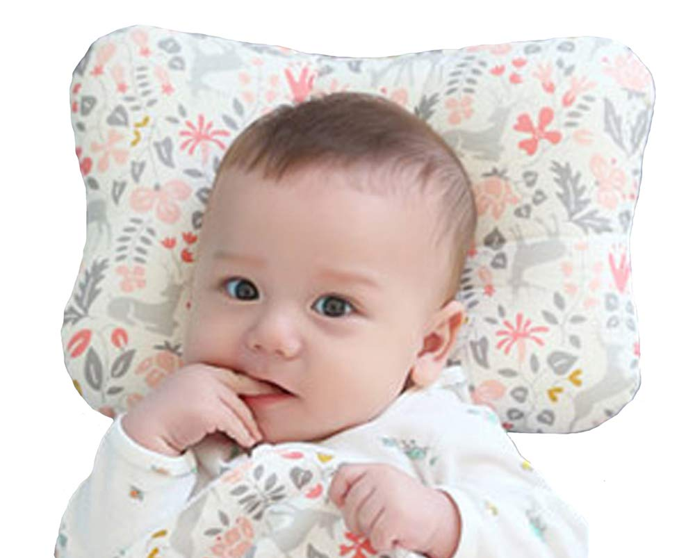 Baby Pillow for Newborn Breathable 3D Air Net Organic Cotton, Protection for Flat Head Syndrome Bambi Pink
