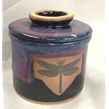 French Butter Keeper with Dragonfly Design in Millenium Glaze