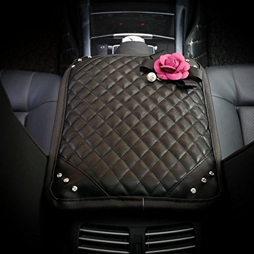 Follicomfy Car Armrest Center Console Cover Cushion Pad with Crystal Pearl Flower Fashion Car Interior Accessories,Rose Red Flower