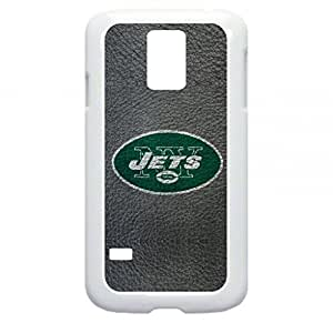 NFL-New York Jets-Football Texture- Samsung Galaxy S5 I9600 - Hard white plastic case with black soft rubber lining (double layer).