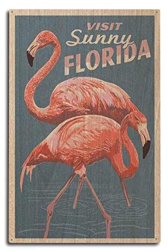 Florida - Flamingo - Letterpress Wood Wall Sign, Wall Decor