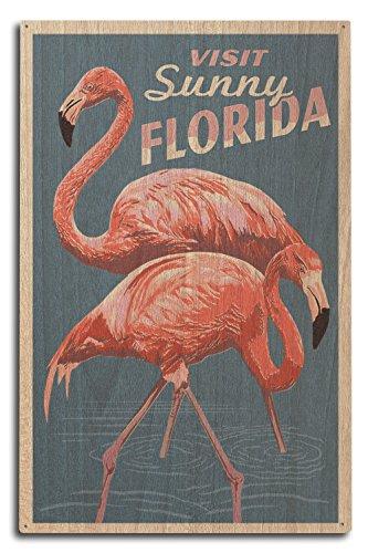 Florida - Flamingo - Letterpress Wood Wall Sign, Wall Decor