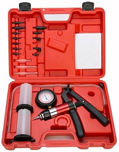 NEW 21PC Hand Held Vacuum Pressure Pump Tester Kit Brake Fluid Bleeder Bleeding Kit from Jikkolumlukka