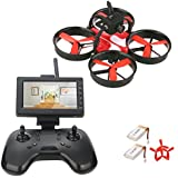 DLFPV RTF RC Drone Quadcopter with Camera HD 600TVL 5.8G LCD Monitor Receiver 2.4Ghz 8CH Remote Controller Easy Fly Indoor Drone for Beginners, Two Batteries
