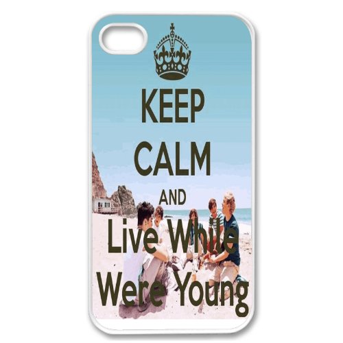 Apple iPhone 4 4G 4S KEEP CALM AND LIVE WHILE WERE YOUNG ONE DIRECTION 1D WHITE Sides Slim HARD Case Skin Cover Protector Accessory Vintage Retro Unique AT&T Sprint Verizon Virgin Mobile Comes in Case Cartel Box Packaging
