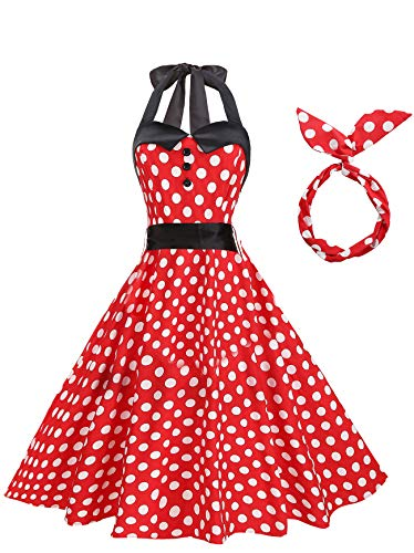 BI.TENCON Women's 1950s Polka Dots Printed Vintage Halter Dresses with Buttons Retro Swing Cocktail Party A Line Dresses Red -
